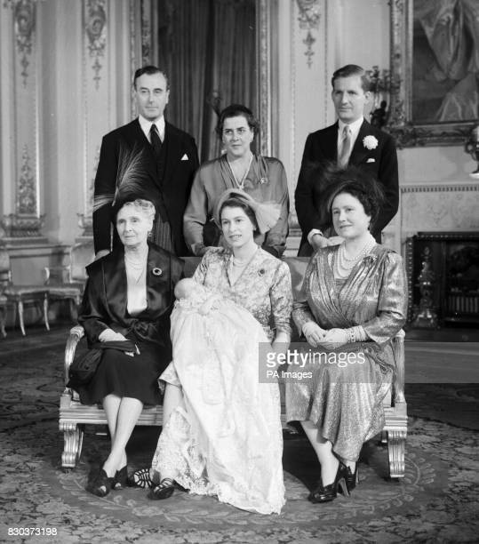 The christening of Princess Anne, daughter of Princess Elizabeth and the Duke of Edinburgh, with her godparents, back row, left to right; Earl...