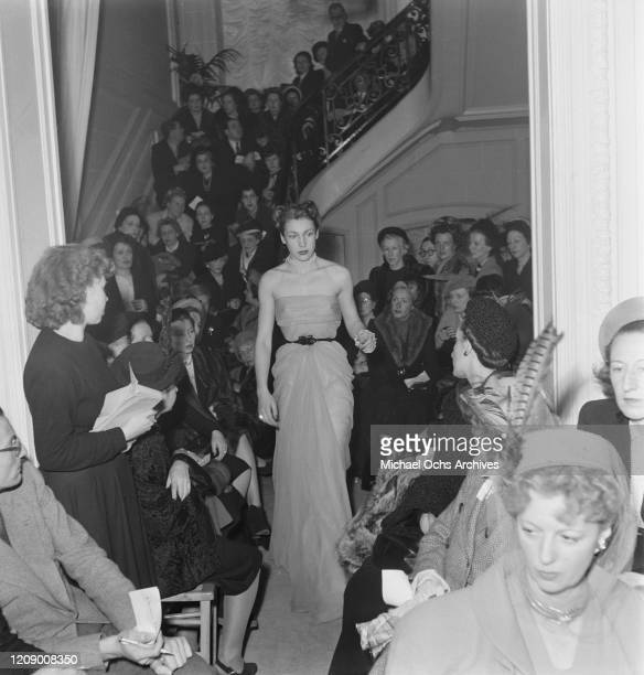 The Christian Dior spring fashion show in Paris, France, February 1948.