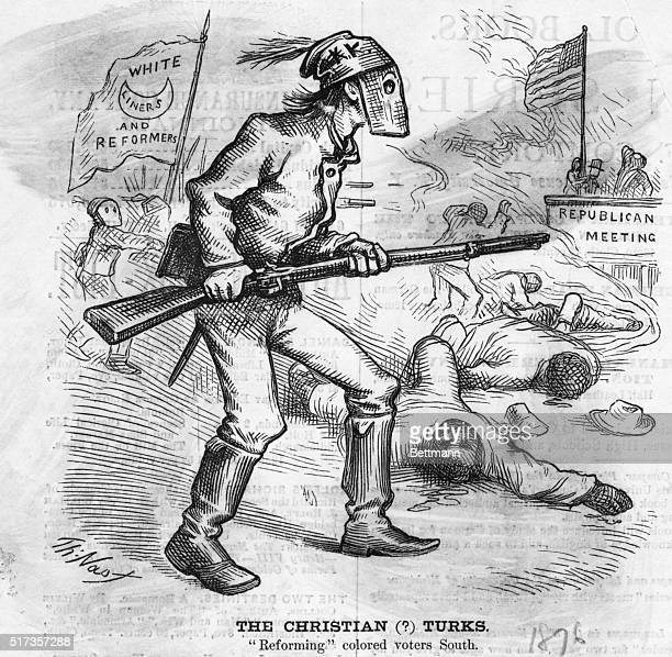 The Christian Turks Reforming colored voters SouthPolitical cartoon depicting masked white supremacists massacring blacks Undated cartoon