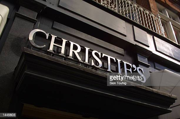 The Christie''s logo is displayed over the entrance of the auction house July 13 2001 on Old Brompton Street in London England