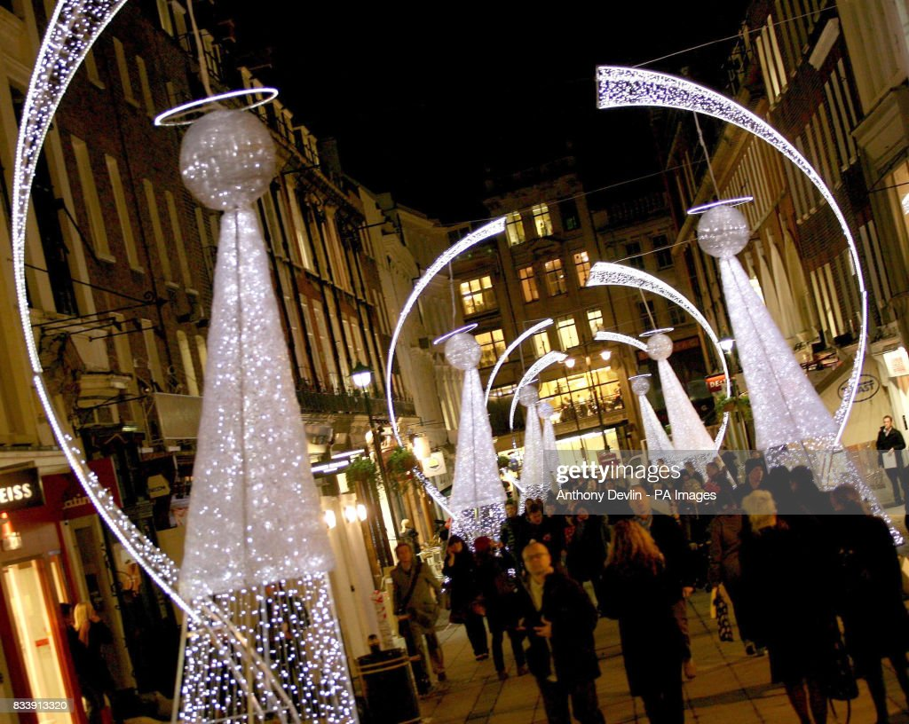 the christmas angel lights switched on by myleene klass and kindred spirits on south molton street