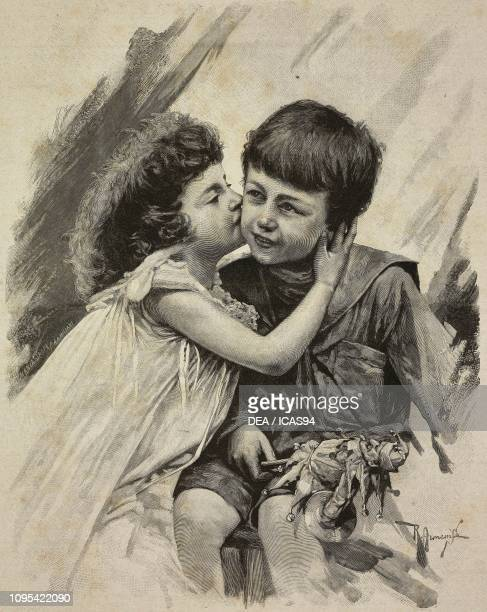 Little Boy And Girl Kissing Black And White Stock Photos And Pictures
