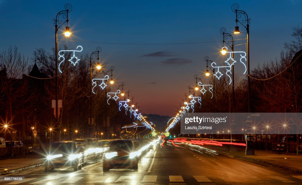 The Christmas lights of the Andrássy street are seen at the Hösök tere (Heroes' Square) on December 17, 2017 in Budapest, Hungary. Budapest is a popular tourist destination in Europe.