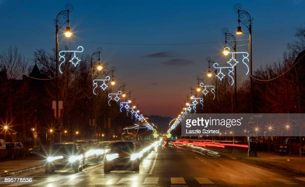 The Christmas lights of the Andrássy street are seen at the Hösök tere on December 17 2017 in Budapest Hungary Budapest is a popular tourist...