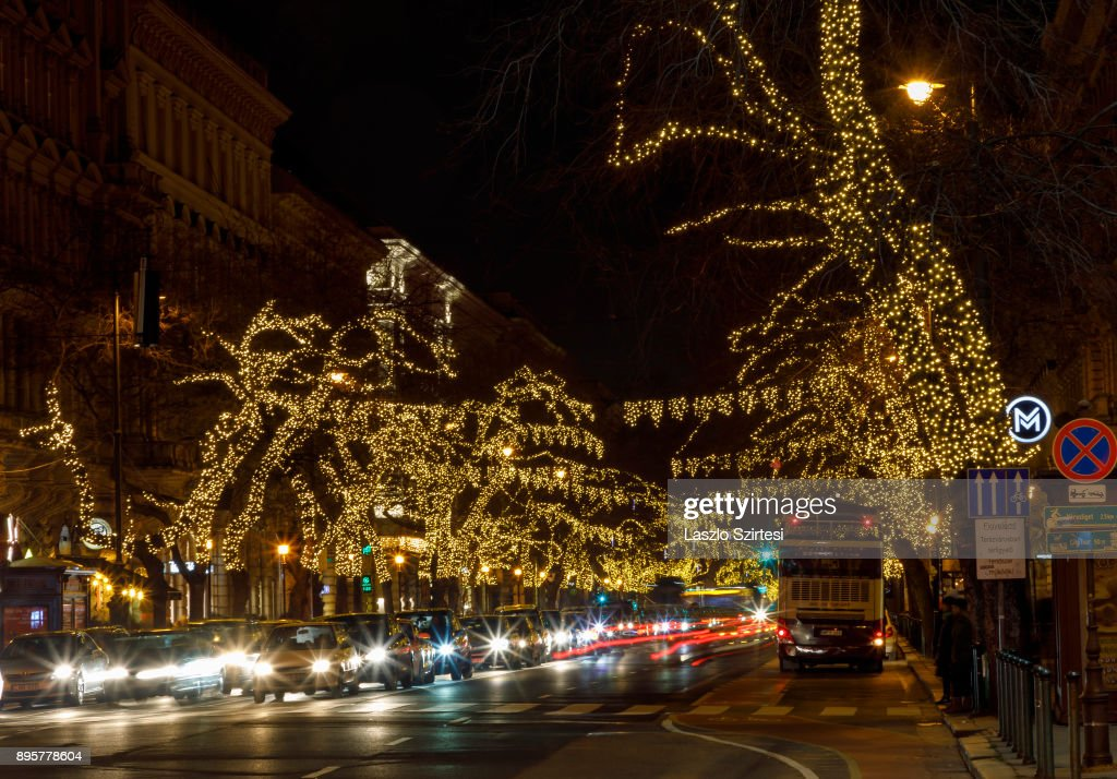 The Christmas lights of the Andrássy street are seen at the Bajcsy-Zsilinszky Street on December 17, 2017 in Budapest, Hungary. Budapest is a popular tourist destination in Europe.
