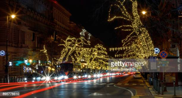The Christmas lights of the Andrássy street are seen at the BajcsyZsilinszky Street on December 17 2017 in Budapest Hungary Budapest is a popular...