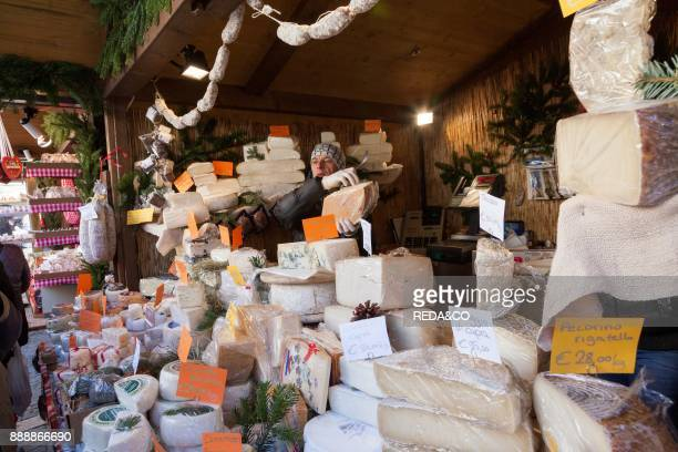 The Christmas Market In Sterzing In The Medieval Historic Center Booth Selling Local Cheese Europe Central Europe Italy South Tyrol December