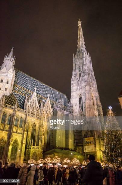 the christmas market lightening the st. stephen's cathedral, vienna, austria - vsojoy stockfoto's en -beelden