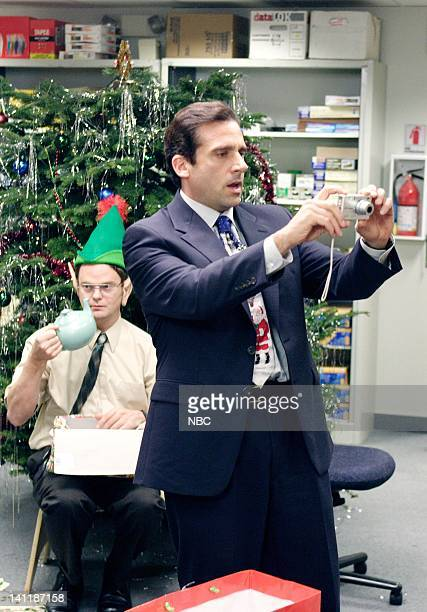 THE OFFICE The Christmas Party Episode 10 Aired Pictured Rainn Wilson as Dwight Schrute and Steve Carell as Michael Scott Photo by Paul...
