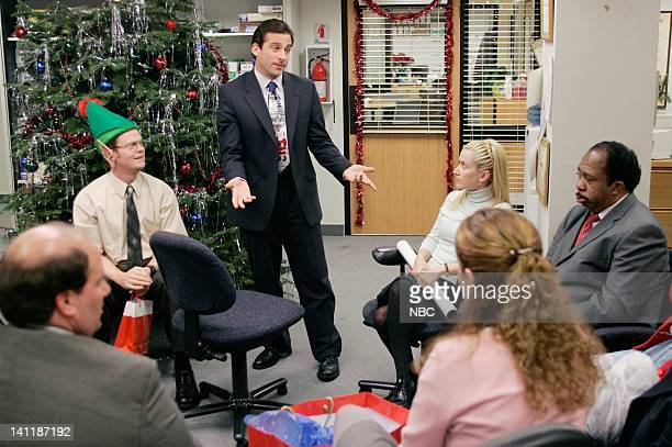 THE OFFICE The Christmas Party Episode 10 Aired Pictured Rainn Wilson as Dwight Schrute Steve Carell as Michael Scott Angela Kinsey as Angela Martin...