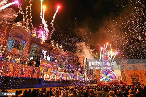 The Christmas tree at Universal Studios Japan is illuminated at the climax of a musical show on November 13 2014 in Osaka Japan The tree earned...