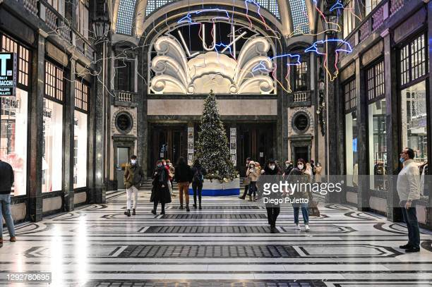 The Christmas tree in Galleria San Federico is seen on December 23, 2020 in Turin, Italy. While decorations go up to celebrate the holiday season,...