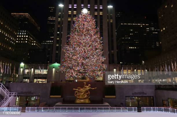 The Christmas tree in Rockefeller Center stands above the skating rink and statue of Prometheus on December 5 in New York City.