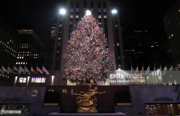 The Christmas tree in Rockefeller Center stands lit before sunrise on November 29, 2018 in New York City.