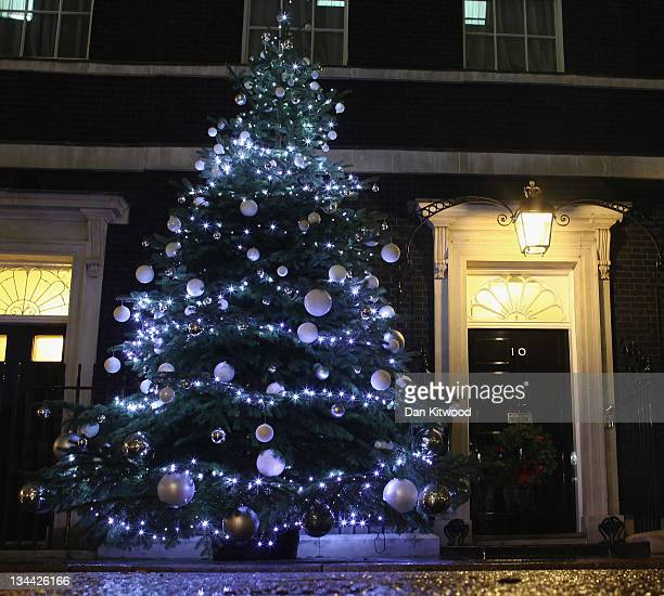 The Christmas tree is illuminated on Downing Street after the lights were turned on by British Prime Minister David Cameron Blue Peter presenter...