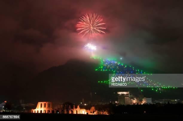The Christmas Tree more 'big World. Fireworks. Night Landscape. Gubbio. Umbria. Italy. Europe.