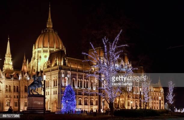 The Christmas tree of the country next to the building of the parliament is seen at Kossuth tér on December 19 2017 in Budapest Hungary