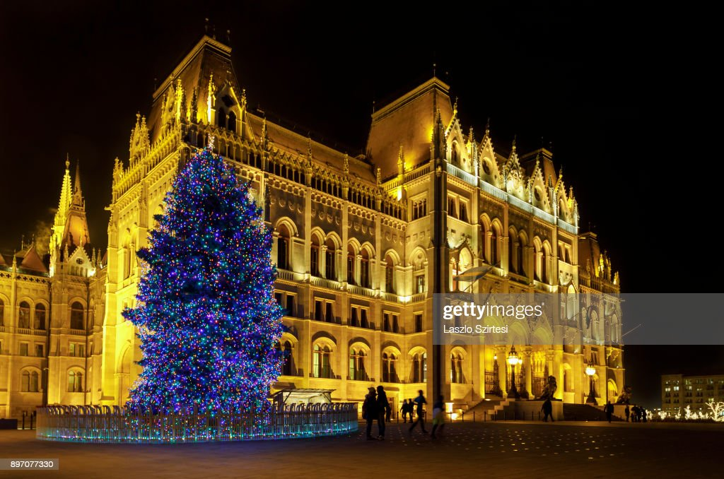 The Christmas tree of the country next to the Parliament Building is seen at Kossuth tér (Kossuth square) on December 19, 2017 in Budapest, Hungary.