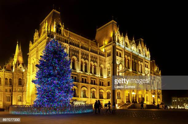 The Christmas tree of the country next to the Parliament Building is seen at Kossuth tér on December 19 2017 in Budapest Hungary