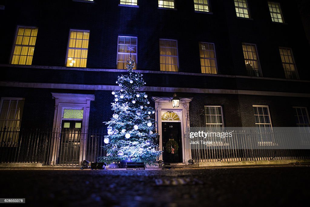 the christmas tree outside number 10 downing streetis lit up after being switched on by