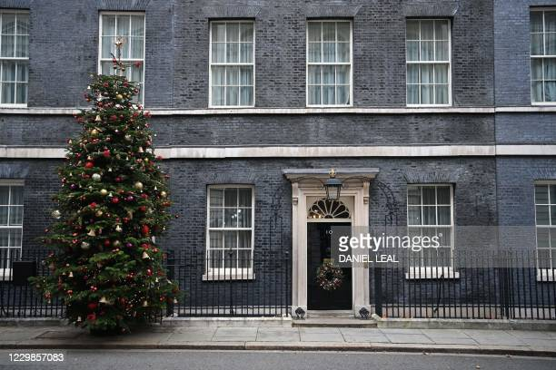 The Christmas tree stands beside the front door, outside 10 Downing Street in central London on November 29, 2020.