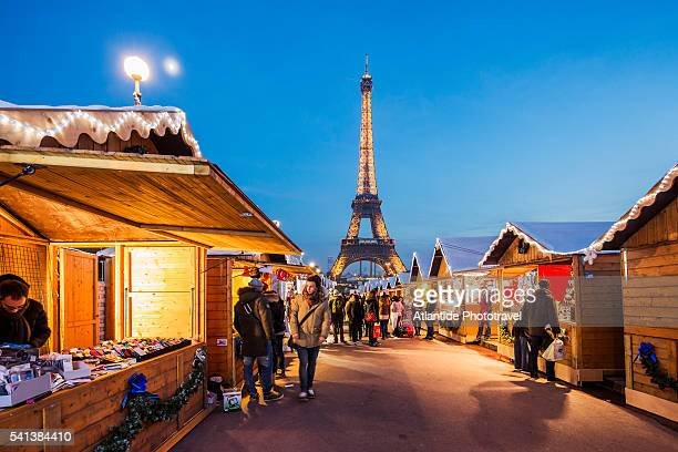The Christmas Village at the Trocadero (one of the largest Christmas markets), on the background the Tour (tower) Eiffel