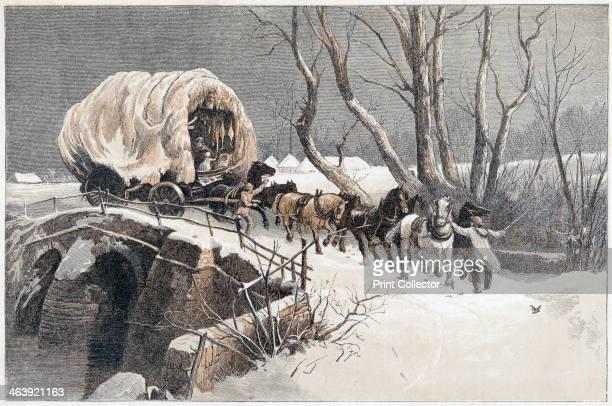 The Christmas Wagon 1866 A carter and his team struggling across a bridge through the snow