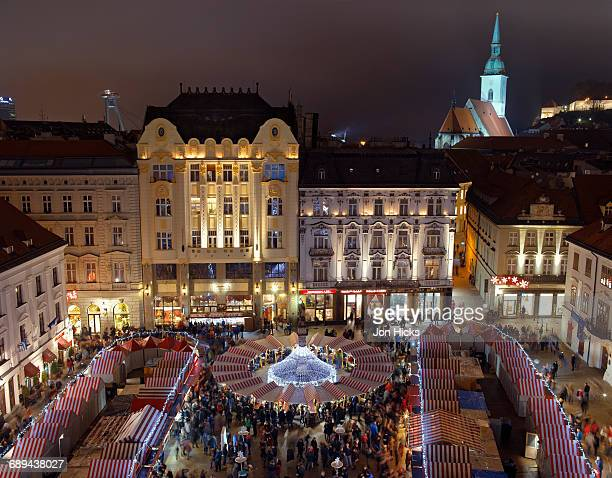 the christms market in bratislava's main square. - bratislava stock pictures, royalty-free photos & images