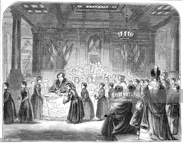 The Christ's Hospital Scholars at the Mansion-House, 1844. Schoolboys from the charity school in the City of London 'taking their annual luncheon...