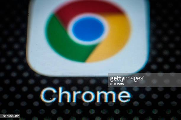The Chrome browser app for mobile devices is seen on the screen of a portable device on December 6 2017