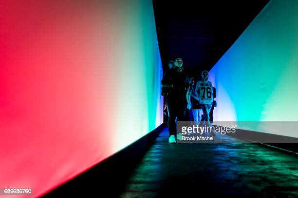 The Chromesthesia light installation on May 29 2017 in Sydney Australia Vivid Sydney is an annual festival that features light sculptures and...