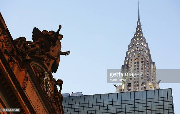 The Chrysler Building stands above statue of Mercury perched above the Tiffany clock at Grand Central Terminal on the day before the famed Manhattan...