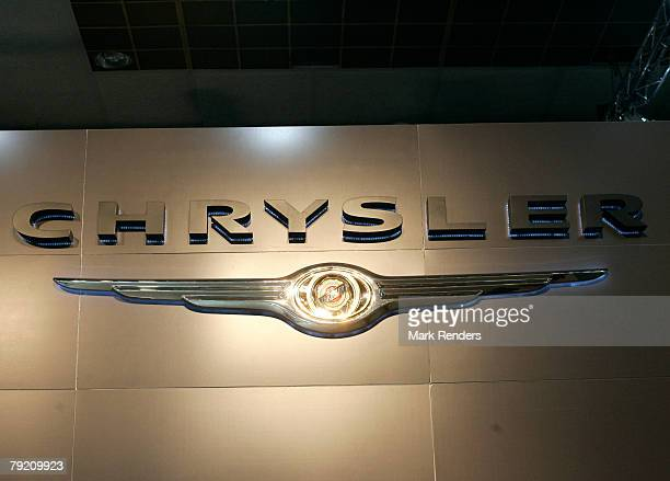 The Chrysler corporate logo is seen at the International Car Show at Heysel on January 22 2008 in Brussels Belgium