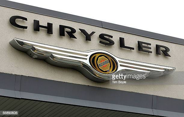 The Chrysler logo is seen at Walton Chrysler October 10 2005 in Skokie Illinois Chrysler is recalling about 500000 vehicles due to potential problems...