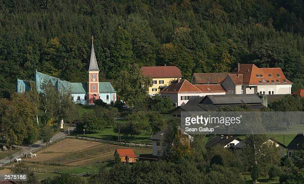 The church elementary school and other buildings in the village of Thal Austria also the childhood home of newlyelected California Governor Arnold...