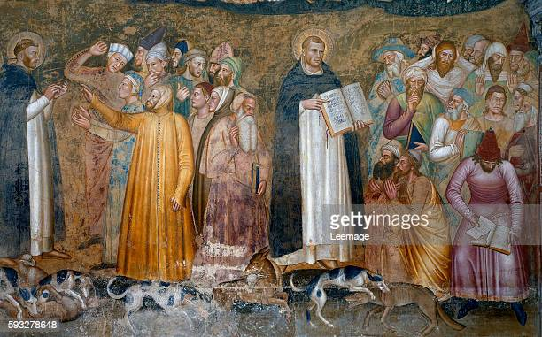 The Church Militant and Triumphant detail of St Thomas Aquinas and Peter confuting the heretics from the Spanish Chapel c1369 fresco by Andrea...