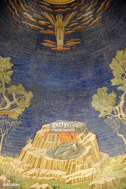 the church of all nations, also known as the church or basilica of the agony. christ in agony. mosaic of the basilica at gethsemane. - garden of gethsemane stock pictures, royalty-free photos & images