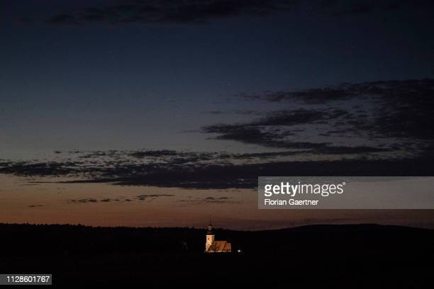 The church of Diehsa is pictured during blue hour on February 24 2019 in Diehsa Germany