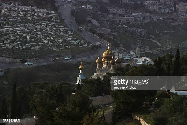 The Church of Mary Magdalene a Russian Orthodox church on the Mount of Olives in Jerusalem 1970
