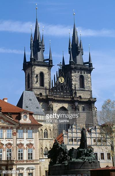 The Church of Our Lady before Tyn 13651511 and the Monument to Jan Hus Old Town Square in Prague Czech Republic