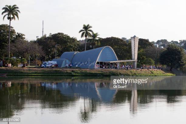 The 'Church of Saint Francis of Assisi' designed by Oscar Niemeyer on the shore the artificial lake of 'Pampulha' on June 24 2014 in Belo Horizonte...