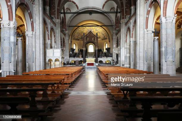 The church of SantAmbrogio is seen completely empty on February 27 2020 in Milan Italy Italy registered a 25% surge in coronavirus cases in 24 hours...