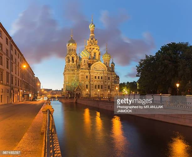 the church of savior on the spilled blood - white nights festival stock photos and pictures