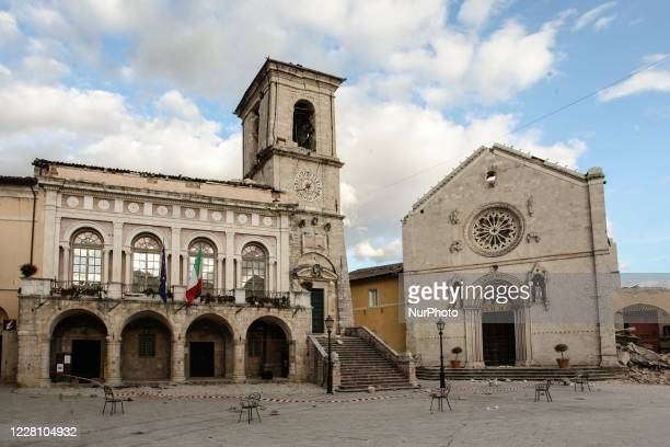 The church of St. Benedict, facing Piazza San Benedetto, in Norcia, destroyed in an earthquake on 30 October 2016 in Norcia, Italy, on November 1,...