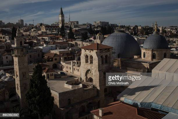 The Church of the Holy Sepulchre is seen in the Old City on December 11 2017 in Jerusalem Israel In an already divided city US President Donald Trump...