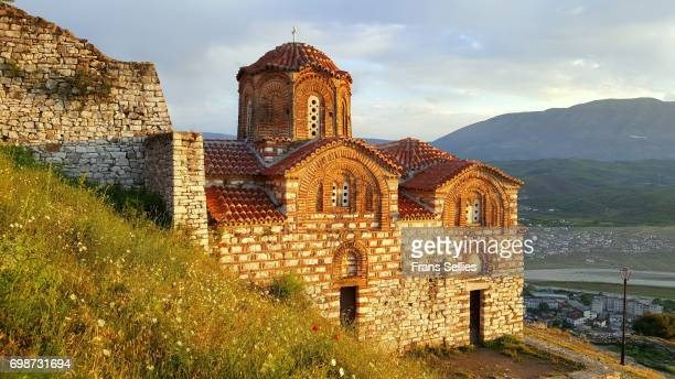 the church of the holy trinity, berat, albania - albania stock-fotos und bilder