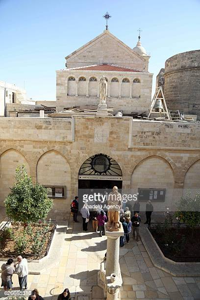 The Church of the Nativity which is traditionally considered to be located over the cave that marks the birthplace of Jesus is seen during its...