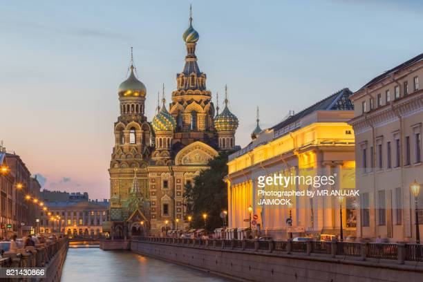 the church of the savior on spilled blood in saint petersburg, russia - jesus blood stock pictures, royalty-free photos & images