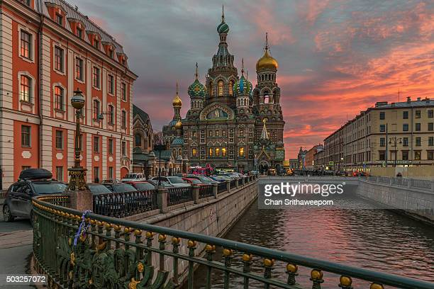 the church of the savior on spilled blood - white nights festival stock photos and pictures