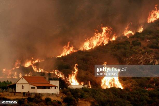 The church of Zoodohos Pygi near the village of Andritsena on the Peloponnese peninsula is threaten by a fire, 27 August 2007. Greece battled raging...